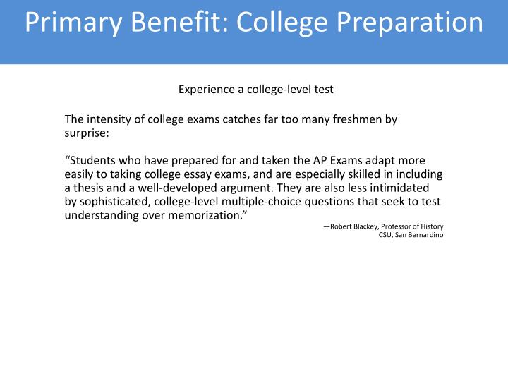 Primary Benefit: College Preparation
