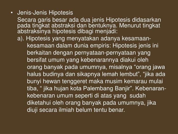 Jenis-Jenis Hipotesis