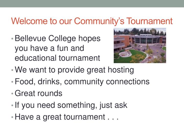 Welcome to our Community's Tournament
