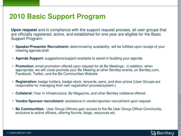 2010 Basic Support Program