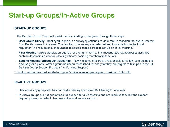 Start-up Groups/In-Active Groups