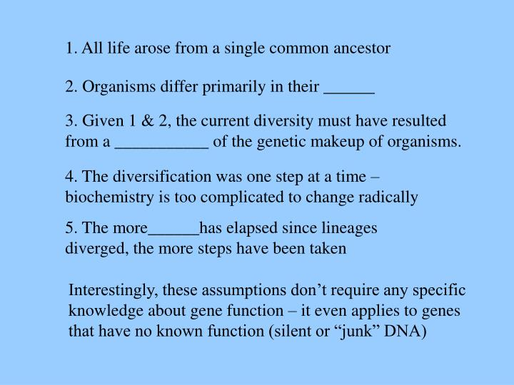 1. All life arose from a single common ancestor