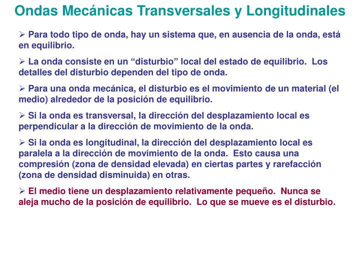 Ondas Mecánicas Transversales y Longitudinales