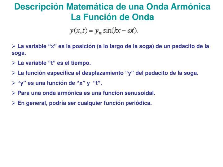 Descripción Matemática de una Onda Armónica