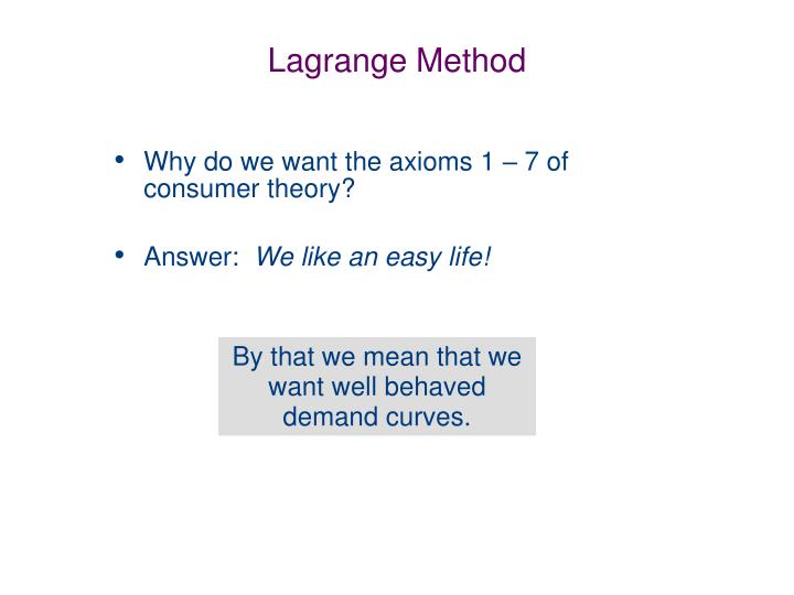 Lagrange Method