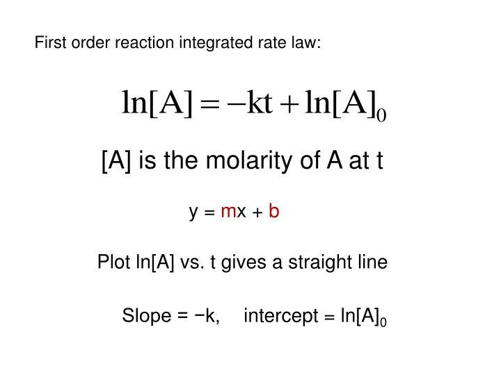 First order reaction integrated rate law: