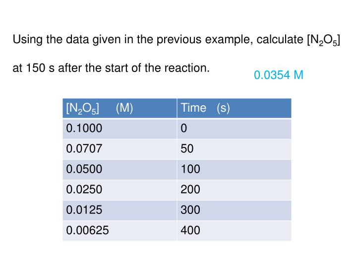Using the data given in the previous example, calculate [N