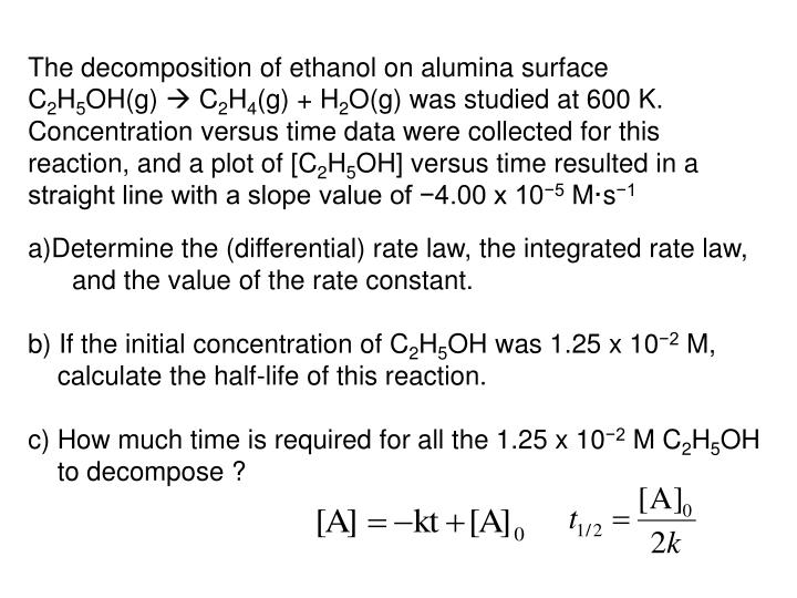 The decomposition of ethanol on alumina surface