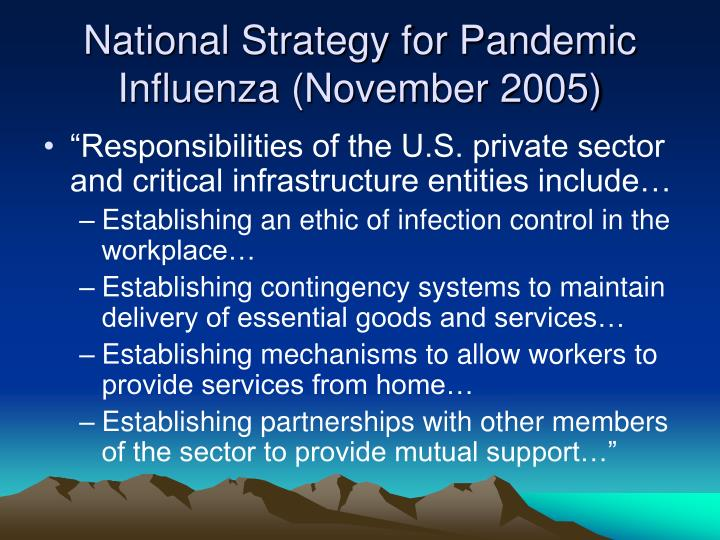 National strategy for pandemic influenza november 2005