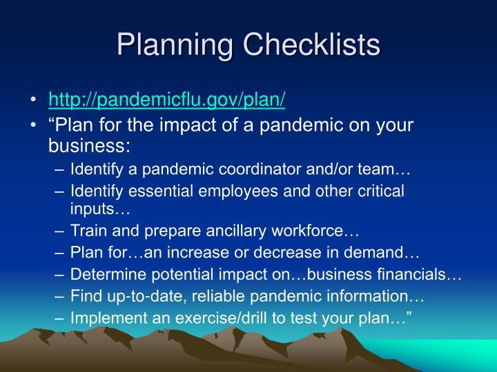 Planning Checklists