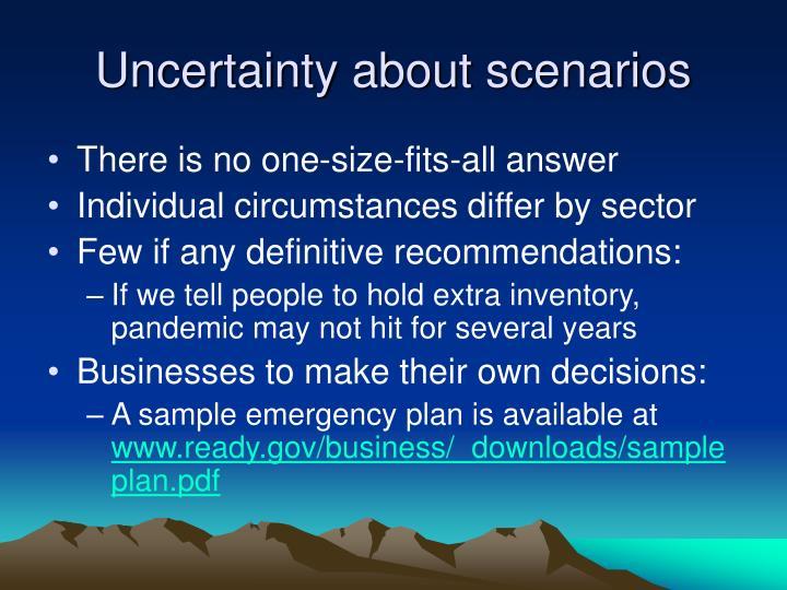 Uncertainty about scenarios