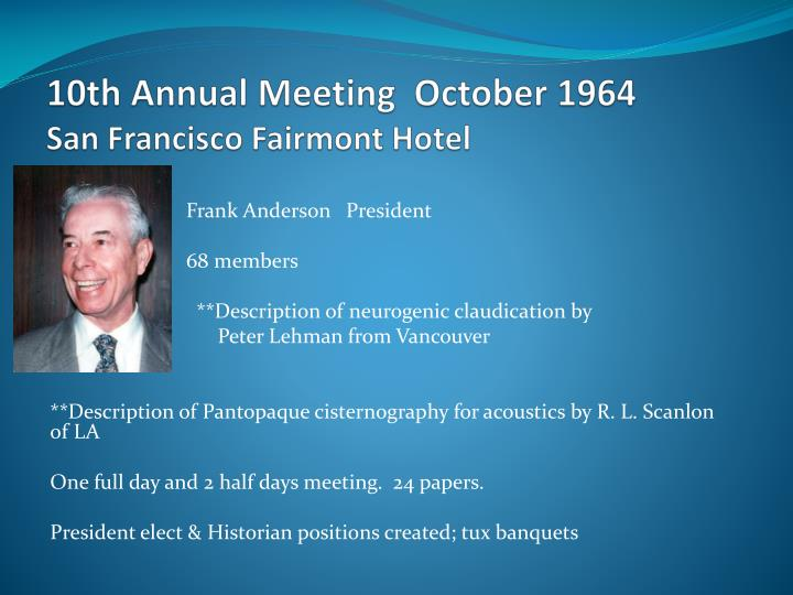10th Annual Meeting  October 1964
