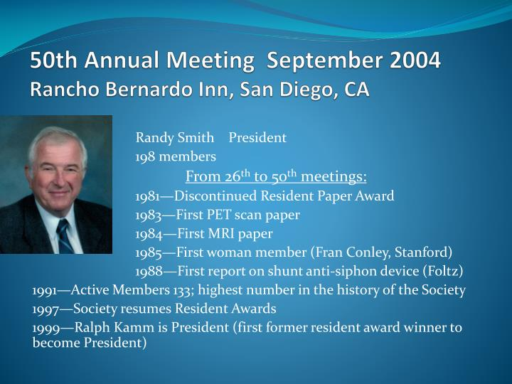50th Annual Meeting  September 2004