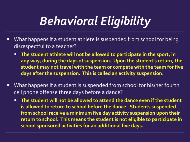Behavioral Eligibility
