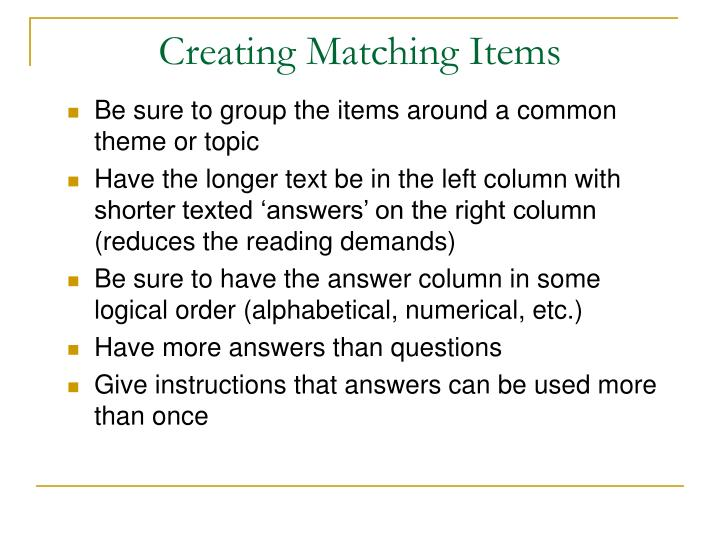 Creating Matching Items