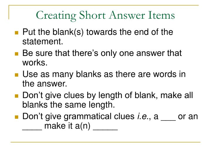 Creating Short Answer Items