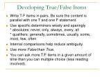 developing true false items
