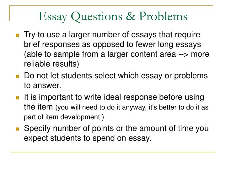 Essay Questions & Problems