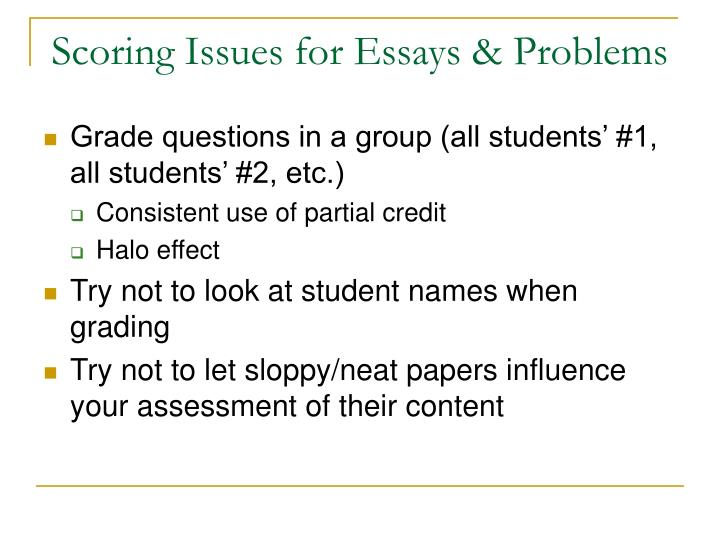 Scoring Issues for Essays & Problems