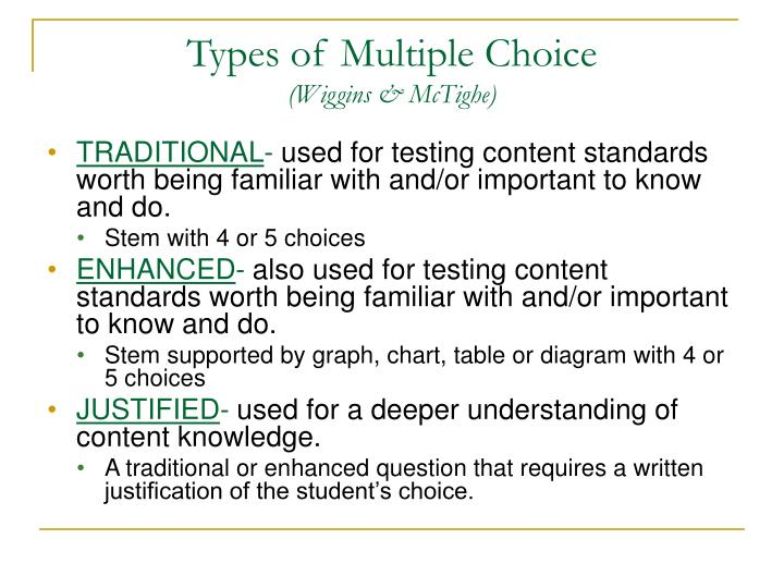 Types of Multiple Choice