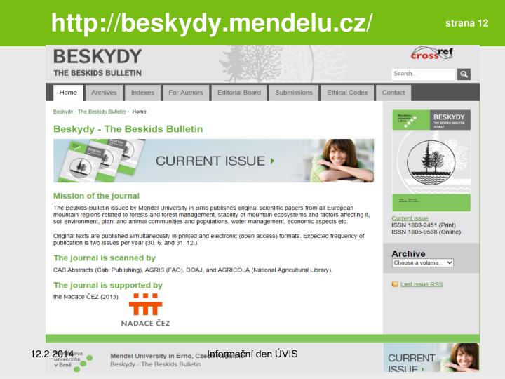 http://beskydy.mendelu.cz/