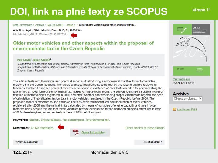 DOI, link na plné texty ze SCOPUS