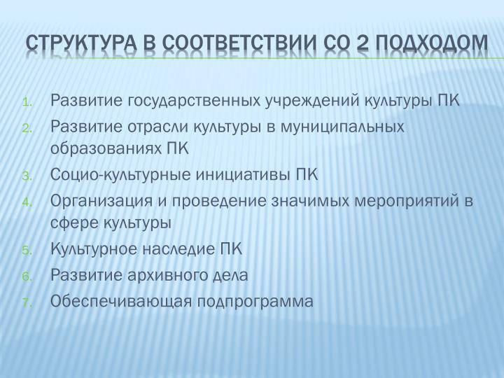 Структура в соответствии со 2 подходом