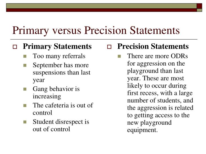 Primary Statements