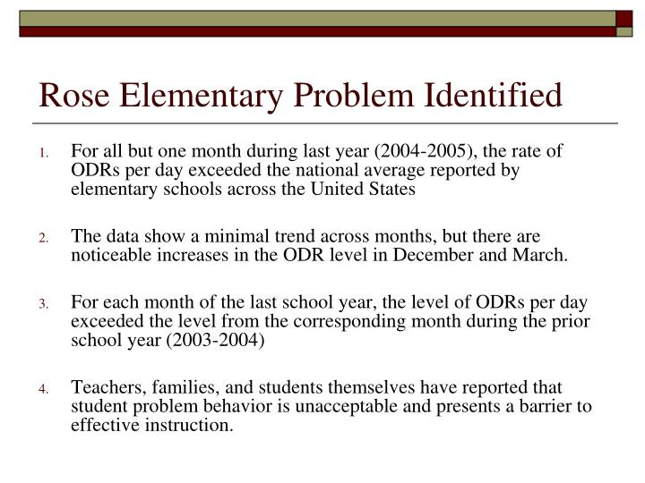 Rose Elementary Problem Identified