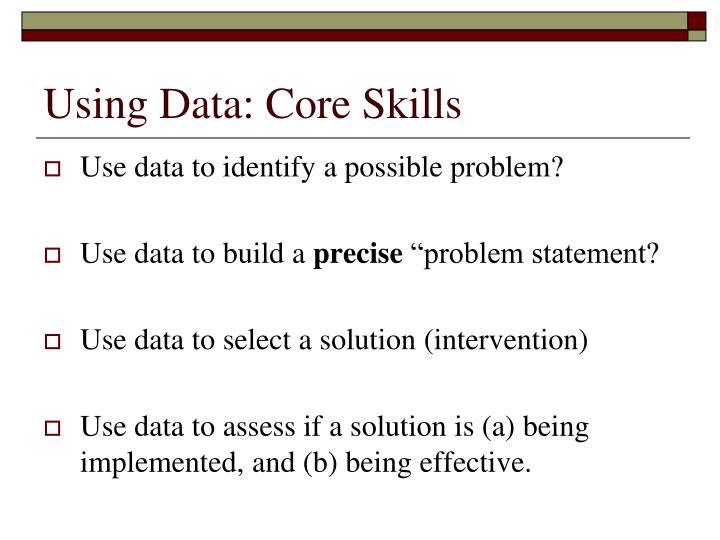 Using Data: Core Skills