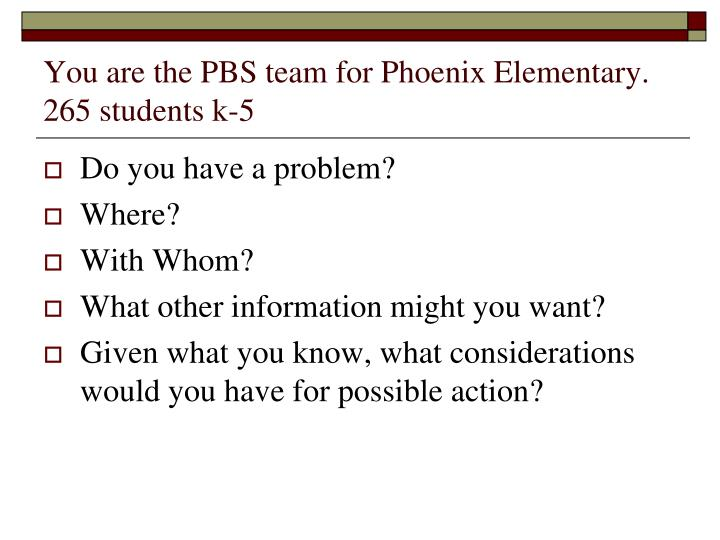 You are the PBS team for Phoenix Elementary. 265 students k-5
