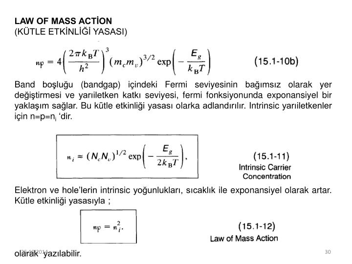 LAW OF MASS ACTİON