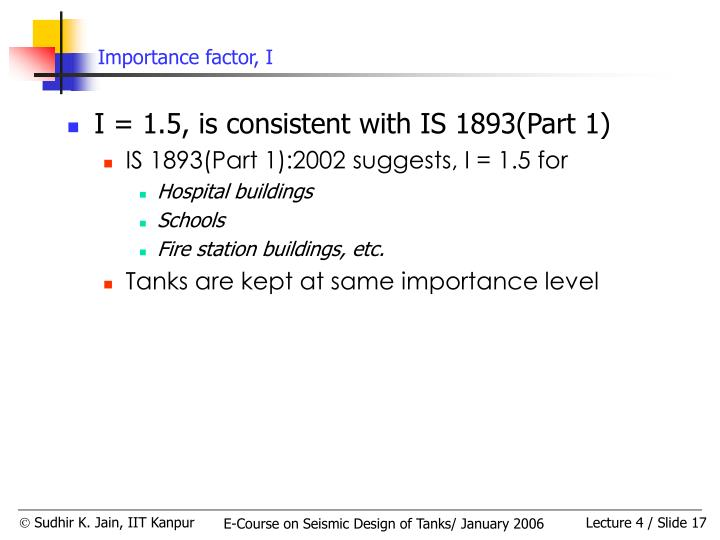 Importance factor, I