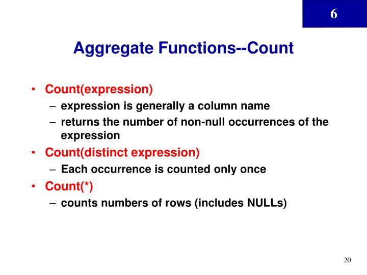 Aggregate Functions--Count