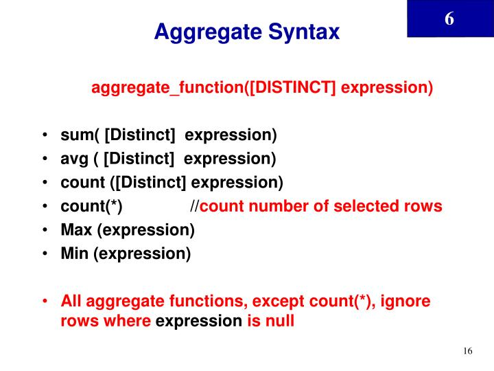 Aggregate Syntax