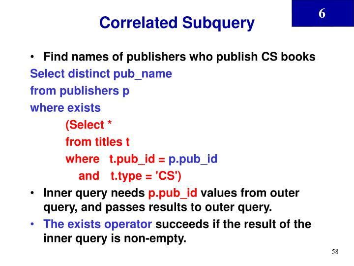 Correlated Subquery