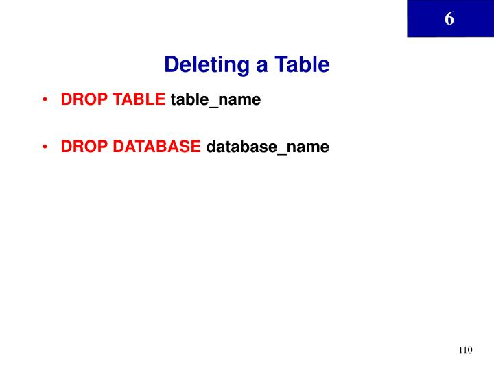Deleting a Table