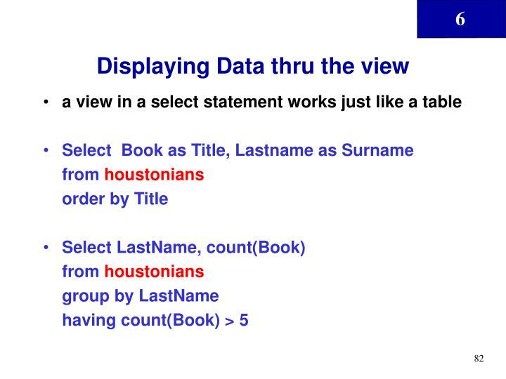 Displaying Data thru the view