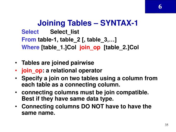 Joining Tables – SYNTAX-1
