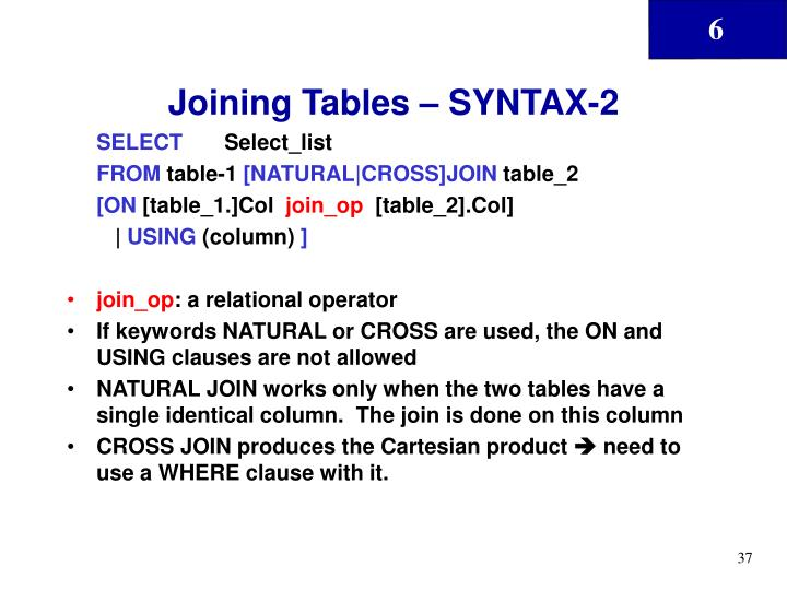 Joining Tables – SYNTAX-2