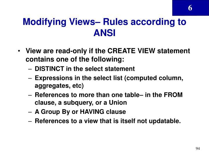 Modifying Views– Rules according to ANSI