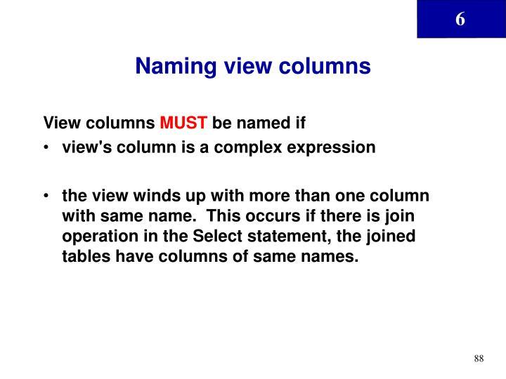 Naming view columns