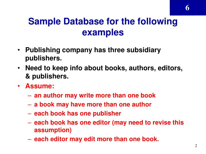 Sample database for the following examples