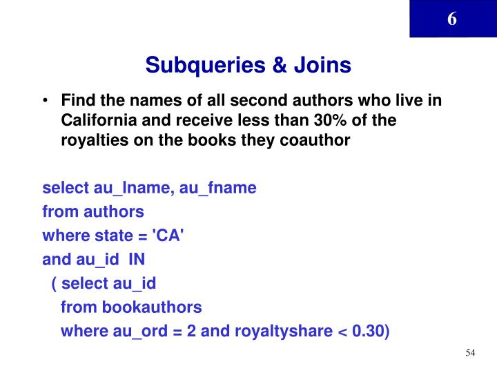 Subqueries & Joins