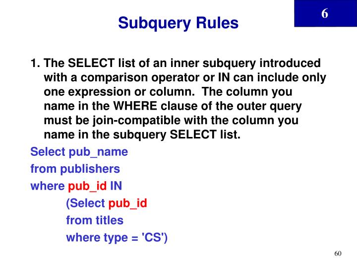 Subquery Rules