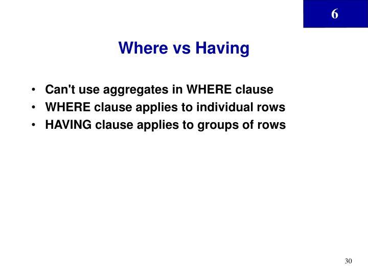 Where vs Having