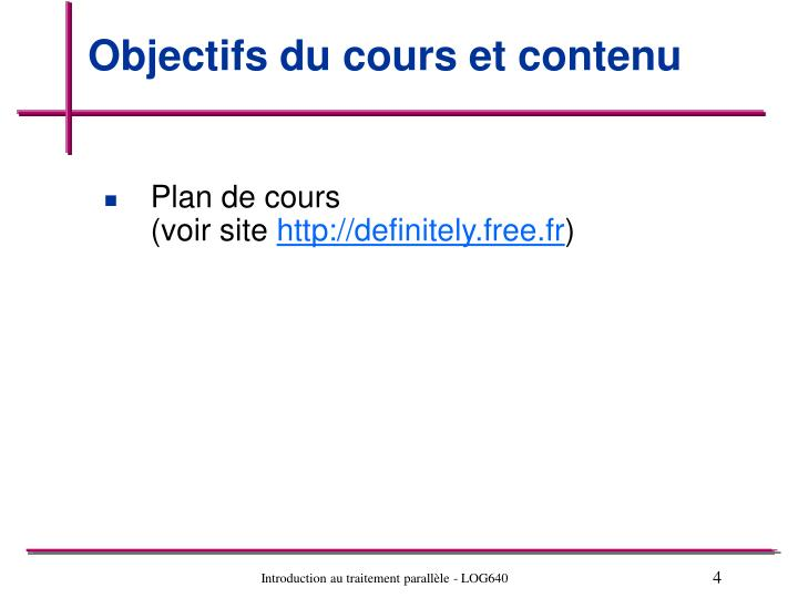 Objectifs du cours et contenu