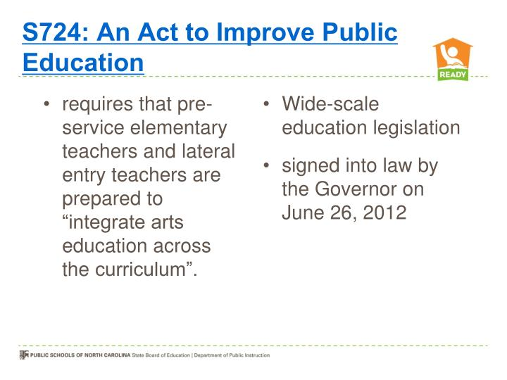 S724: An Act to Improve Public Education