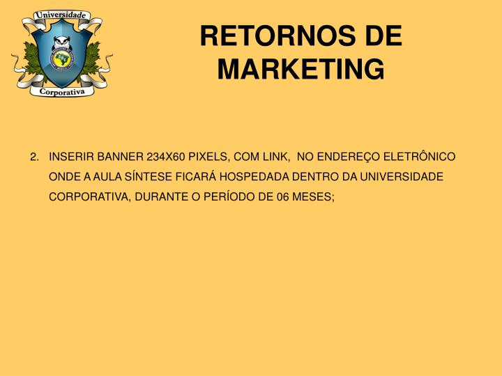 RETORNOS DE MARKETING