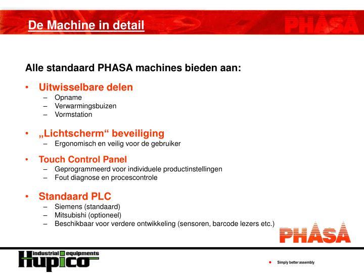 Alle standaard PHASA machines bieden aan: